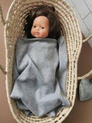 Olimi, lekki kocyk dla lalki szary melanż