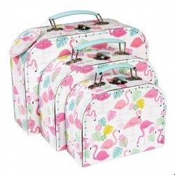 Rex, zestaw 3 walizeczek tekturowych, flamingi
