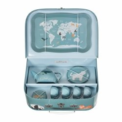 Sassandbell, zestaw do herbatki w walizce zagrożone zwierzęta