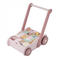 Little Dutch, wózek pchacz z klockami, różowy