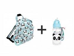 Rex, komplet: plecak + bidon, panda