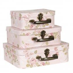 Clayre&Eef komplet 3 walizeczek, jasne róże