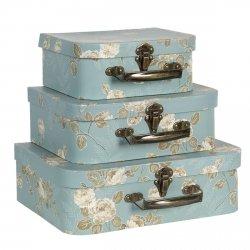 Clayre&Eef komplet 3 walizeczek w róże, błękitne
