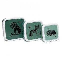 Petit Monkey, zestaw 3 lunch boxów z tritanu, black animals salie