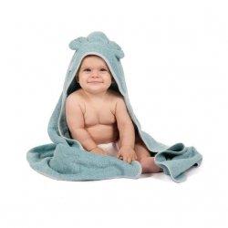 Bo Jungle, ręcznik kąpielowy z organicznej bawełny, miętowy, miś