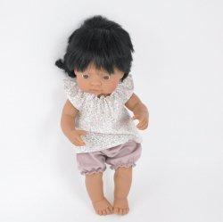 ubranko: tunika + różowe bloomersy,  dla lalki Miniland, 38cm