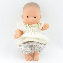 Zestaw: tuniczka ecru + bloomersy w delikatną łączkę, 21cm Miniland baby