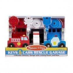 Melissa & Doug, garaże, pojazdy specjalne + kluczyki