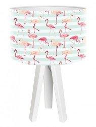 Macodesign, lampa nocna, flamingi, biała lub sosnowa podstawa