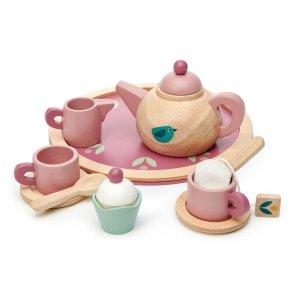 TLT, drewniany zestaw do herbatki, z motywem ptaszka