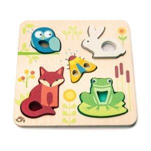 TLT, drewniane puzzle dotykowe, leśne zwierzątka,