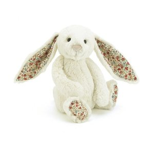 Jellycat, królik kremowy, kolorowe uszy, 31cm,