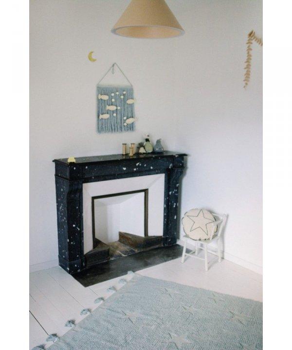 Lorena Canals, dywan bawełniany, hippy stars, aqua blue, 120 x 175cm
