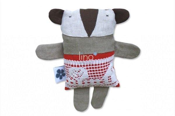 Lino, lniana, ręcznie szyta przytulanka, Borsuk