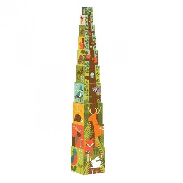 Petit Collage, kostki do układania, leśne drzewo