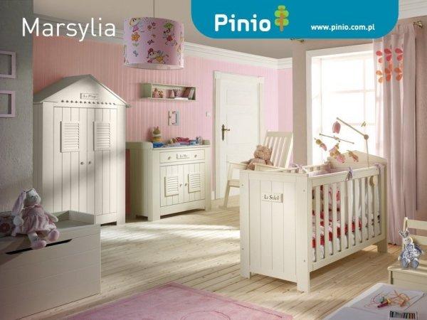 Pinio, Marsylia, zestaw: łóżeczko 120x60cm, komoda, przewijak,