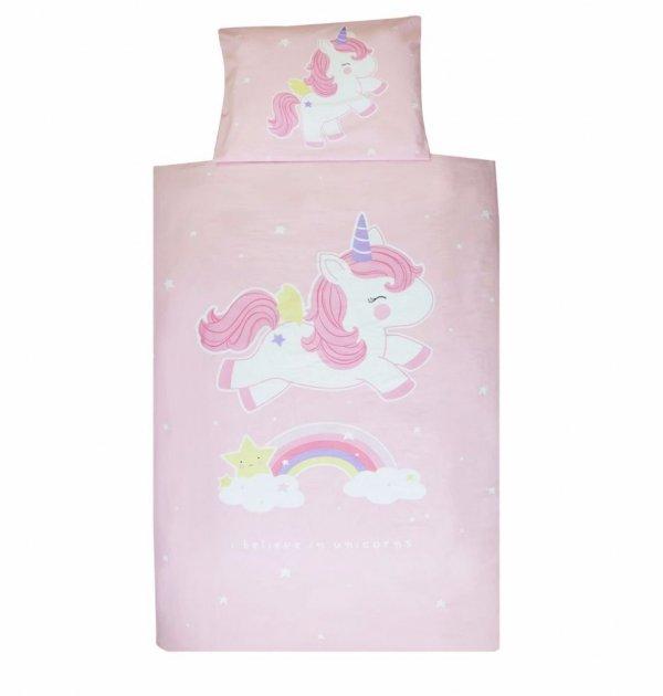 A Little Lovely Company, pościel z jednorożcem, różowa, 140x200, 60x70