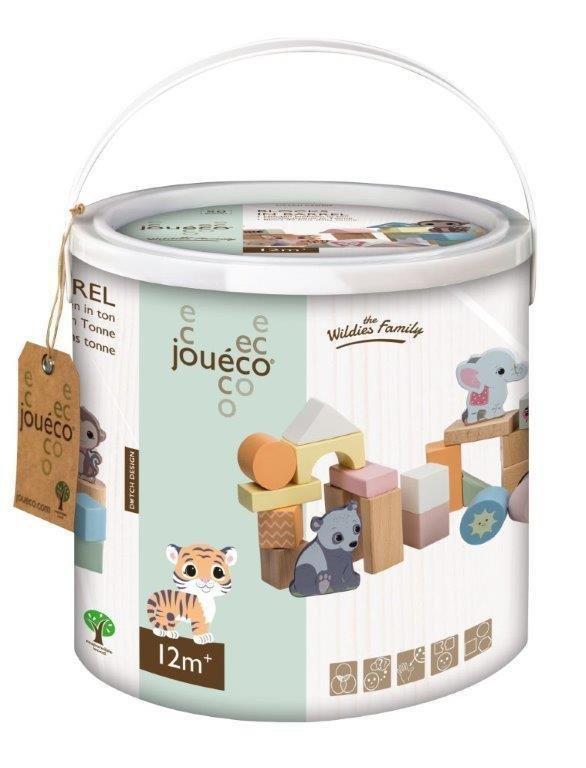 Joueco, zestaw drewnianych klocków w wiaderku, 50 szt.