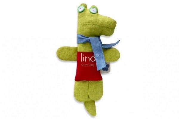 Lino, lniana, ręcznie szyta przytulanka, Krokodyl