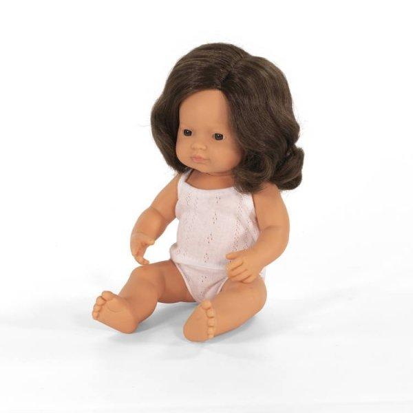 Miniland dziewczynka Europejka z brązowymi włosami,  38cm