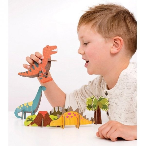 Petit Collage, puzzle przestrzenne dinozaury