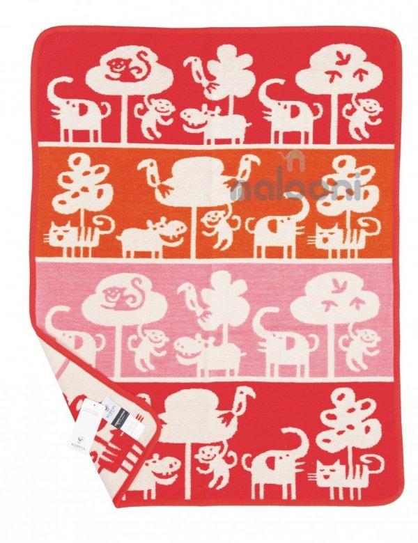 Klippan, pled z bawełny organicznej, Safari, 65x90cm, czerwono - różowy