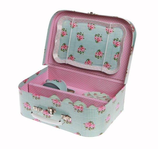 Sass&bell, zestaw filiżaneczek w walizeczce kwiatuszki retro