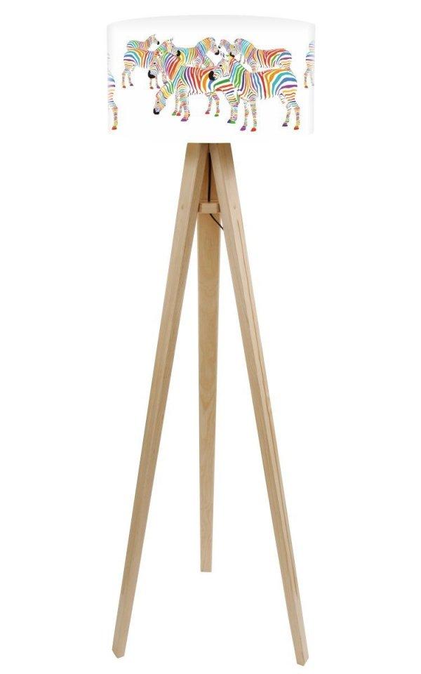 Macodesign, lampa podłogowa, kolorowe zebry, podstawa biała lub naturalna