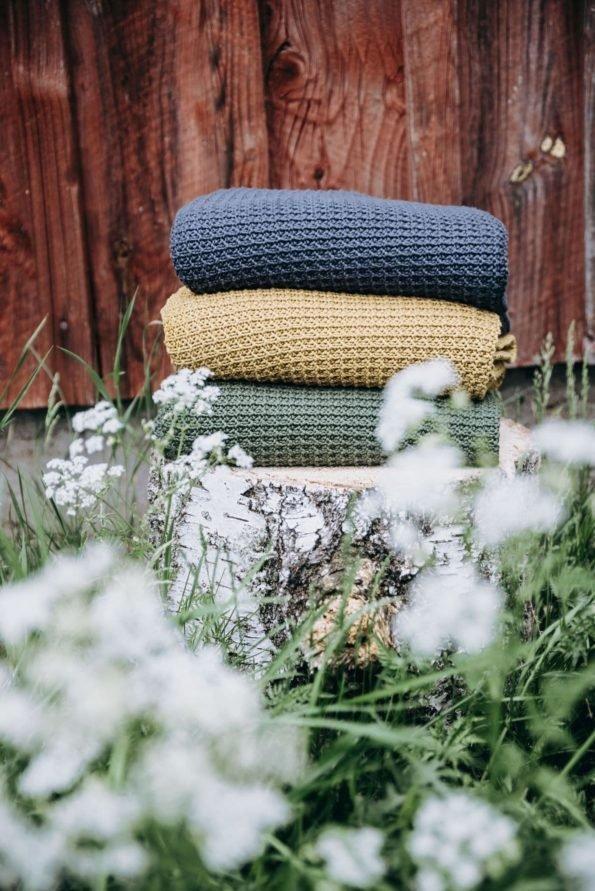 Poofi, kocyk Organic & Color, musztarda, 80x100cm