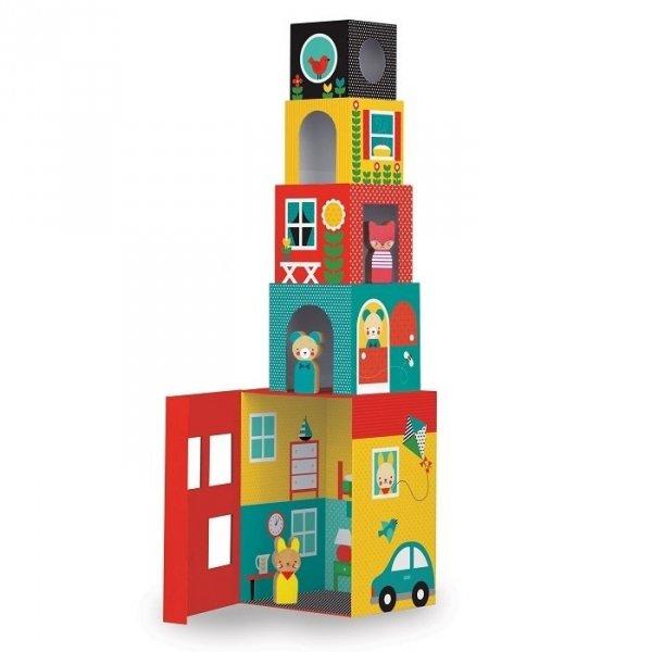 Petit collage, kostki do układania, domek z figurkami
