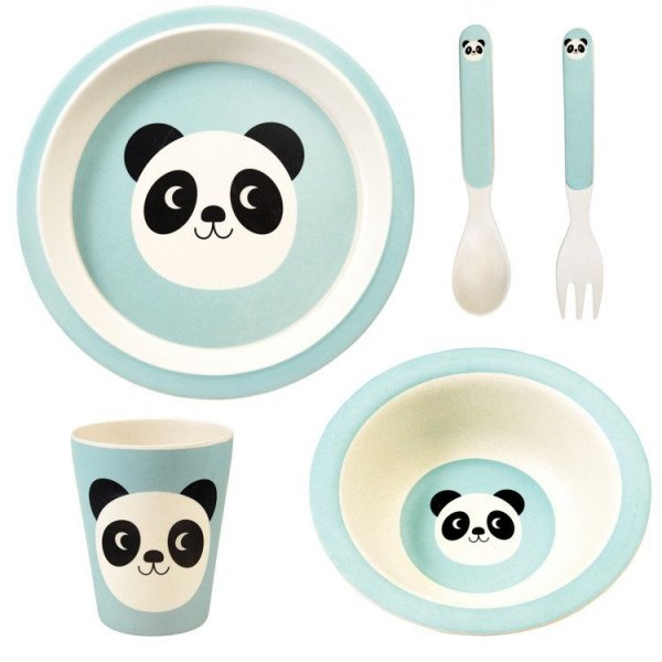 Rex, zestaw naczyń bambusowych, 5 elem., panda
