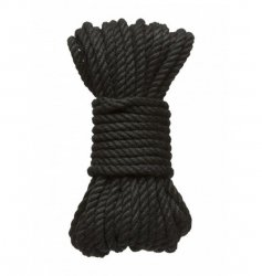 Kink by Doc Johnson Hogtied Bind & Tie 6mm Black Hemp Bondage Rope 30 Feet