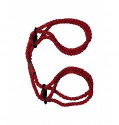 Kink by Doc Johnson - konopne kajdanki Hogtied Bind & Tie 6mm Hemp Wrist or Ankle Cuffs (czerwony)