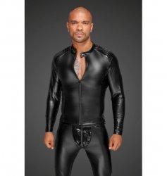 H052 Powerwetlook men's jacket with pleated PVC epaulets L