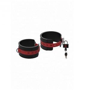 Kink Silicone Ankle Cuffs silikonowe kajdanki na kostki (czarno - czerwone)