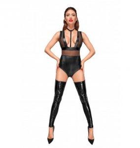 Noir handmade F183 Body z szerokimi ramiączkami, tiulowymi wstawkami i aksamitnym chokerem L (czarny)