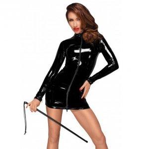 Noir handmade F187 Mini sukienka z PVC z czarnym dwukierunkowym zamkiem z przodu L (czarny)
