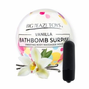 Big Teaze Toys Bath Bomb Surprise With Vibrating Body Massager Vanilla - waniliowa kula do kąpieli z masażerem ciała