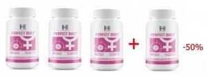 Zestaw pozwalający oddychać pełną piersią: 3x Perfect Bust tabletki, 1x Perfect Bust tabletki za 50%