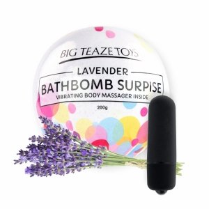 Big Teaze Toys Bath Bomb Surprise With Vibrating Body Massager Lavender - lawendowa kula do kąpieli z masażerem ciała