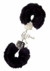 Dream Toys Handcuffs With Plush Black - kajdanki (czarne)
