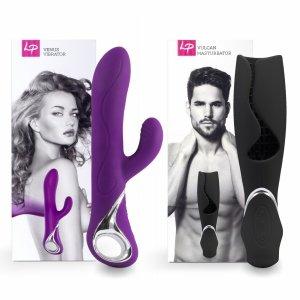 LoversPremium Venus & Vulcan Couples Set Purple & Black - wibrator i masturbator w zestawie dla par (fioletowy i czarny)