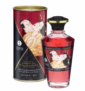 Shunga Aphrodisiac Oil Sparkling Strawberry Wine 100 ml - jadalny olejek do masażu (wino musujące)