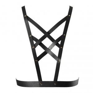 Bijoux Indiscrets MAZE Net Cleavage Harness - skóropodobna uprząż BDSM na klatkę piersiową (czarny