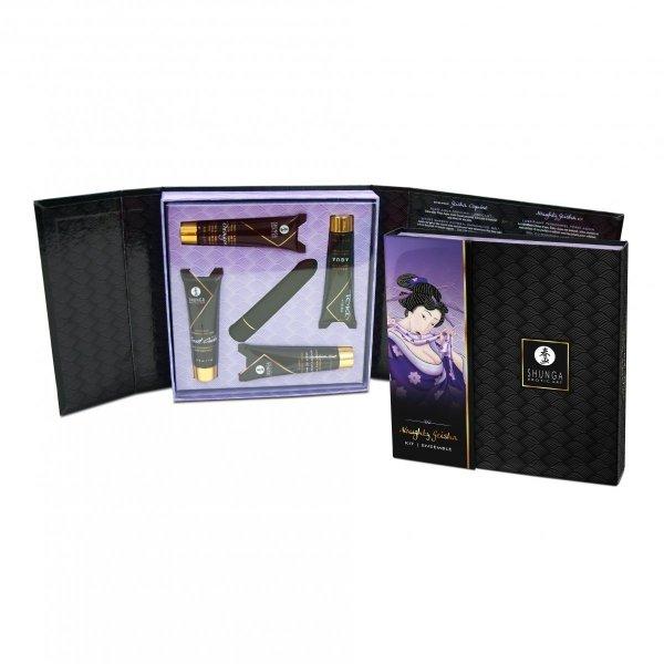 Shunga Naughty Geisha Kit - zestaw kosmetyków z mini wibratorem (wibrator + lubrykant Toko + żel Secret Garden + krem Dragon + krem Rain of Love)
