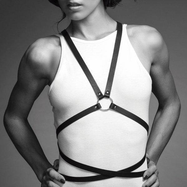 Bijoux Indiscrets MAZE Multi-way Harness - skóropodobna uprząż BDSM (czarny)