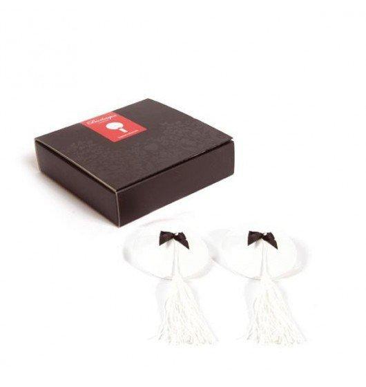 Bijoux Indiscrets Burlesque Pasties - skórzano - satynowe nasutniki (białe)
