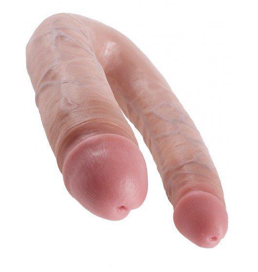 King Cock podwójne dildo - U-Shaped Large Double Trouble sztuczny penis (cielisty)
