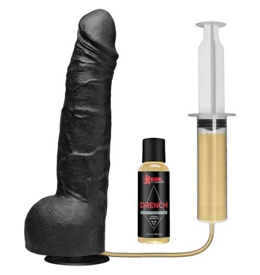 Kink Wet Works Drencher dildo z wytryskiem  - Silicone Squirting Cock sztuczny penis (czarny)