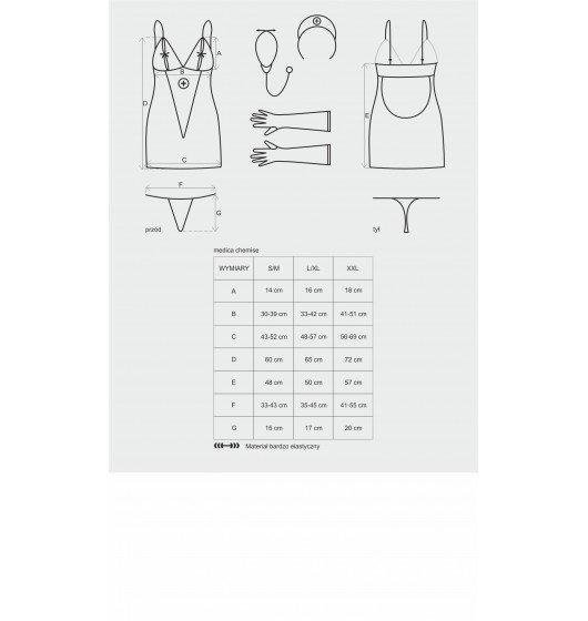 Obsessive Medica sukienka kostium 5-częściowy + stetoskop S/M